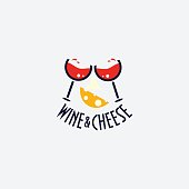 Wine and cheese minimalist label. Wine glasses cheers and a slice of cheese. Vector illustration. Great for wine and cheese party or festival.