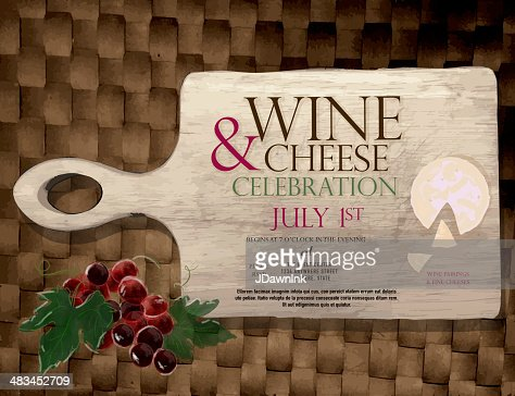 wine and cheese party invitation design template vector art, Party invitations