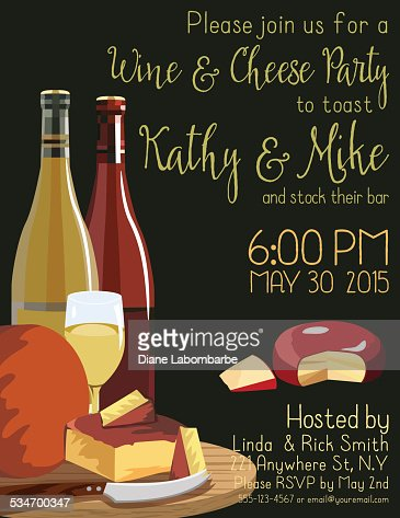 wine and cheese party invitation template vector art getty images. Black Bedroom Furniture Sets. Home Design Ideas