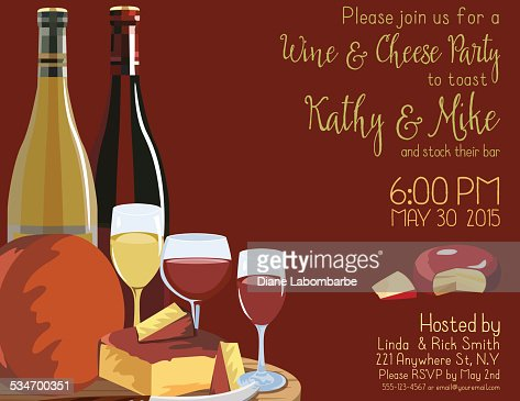 wine and cheese party invitation template vector art | getty images, Party invitations