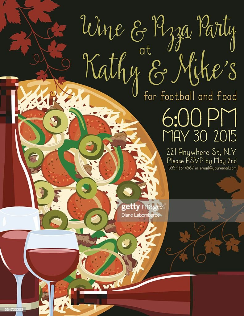 wine and pizza party invitation template vector art - Pizza Party Invitation