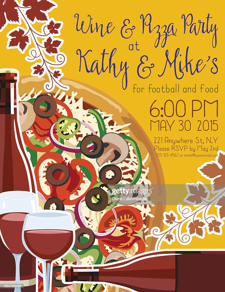 Wine And Pizza Party Invitation Template Vector Art – Pizza Party Invitation Template