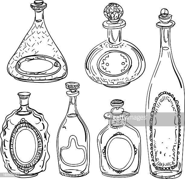 Wine bottles illustration in black and white