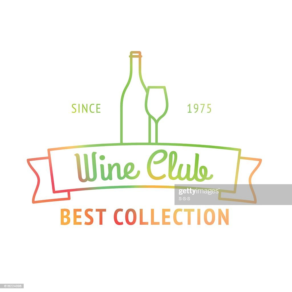 Wine club best collection colorful logo : Vector Art
