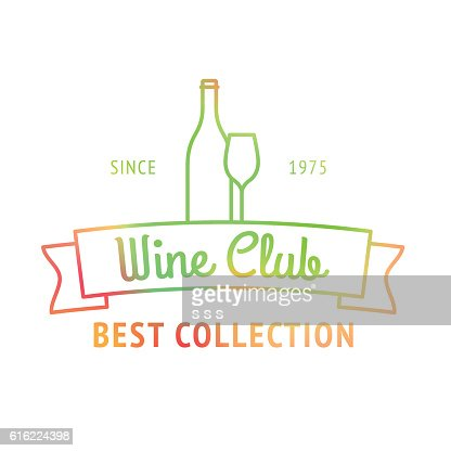 Wine club best collection colorful logo : Arte vettoriale