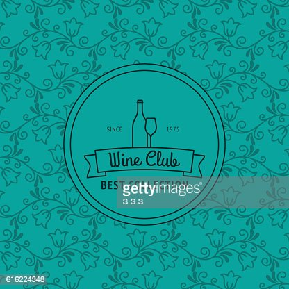 Wine club card with floral pattern : Vector Art