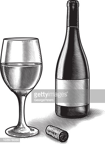 how to draw a wine glass and bottle