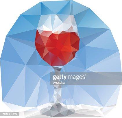 wine glass polygonal : Vector Art