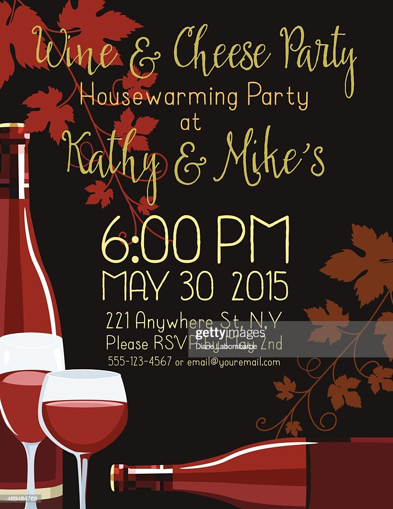 wine housewarming party invitation template vector art getty images. Black Bedroom Furniture Sets. Home Design Ideas