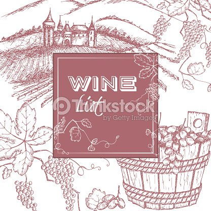 Wine list template with castle vineyard and grapes vector art wine list template with castle vineyard and grapes vector art maxwellsz