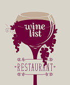 Cover for a wine list of restaurant menus. Vector illustration with wine glass with a calligraphic inscription, grapes and vines