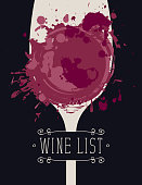 Vector Wine list with a silhouette of a glass of wine with spots and splashes