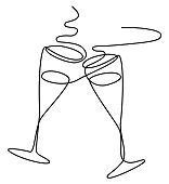 New Year abstract background one line drawing