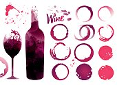 Wine stains set for your designs. Color texture red wine or rose wine. Illustration of glass and bottle of wine with stains. Vector