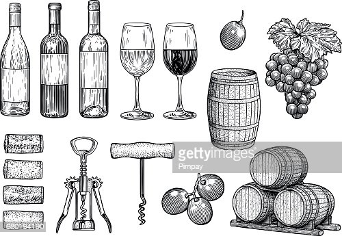 Wine stuff illustration, drawing, engraving, ink, line art, vector : Vector Art