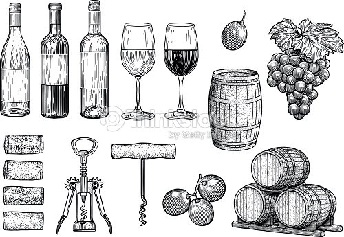 Wine stuff illustration, drawing, engraving, ink, line art, vector : stock vector