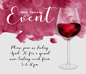 Wine tasting event flyer template, vector illustration. Transparent glass with red wine, handdrawn watercolour texture, calligraphic lettering, invitation graphic design.