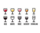 Wine types icon set. Red, white and rose wine glasses, dessert and sparkling. Color and black line vector illustration.