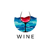Sea and wine design template. Vector illustration