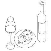 Linear silhouettes of a wine glass, wine bottle and a plate with cheese on it, isolated.