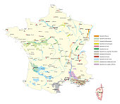 wine-growing areas vector map in France