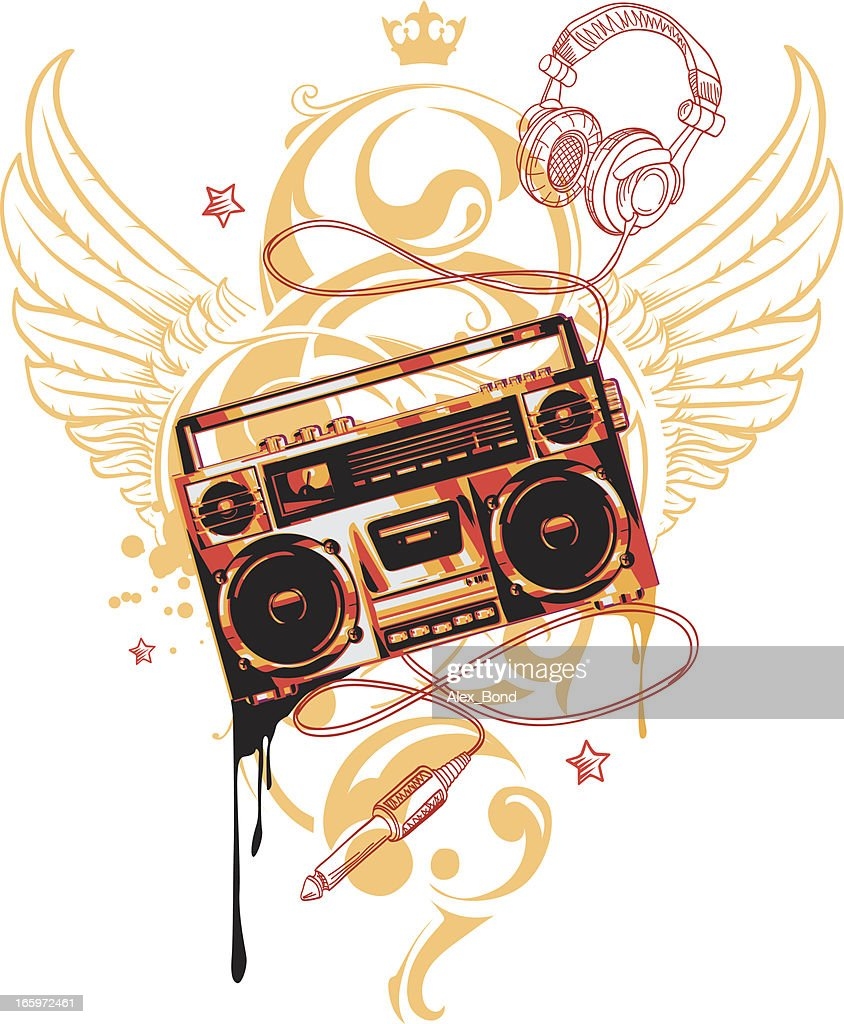 Winged Boombox Vector Art | Getty Images
