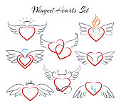 Winged heart set. Hearts with wings in doodle style vector illustration isolated on white background. Decoration sketch heart with nimbus