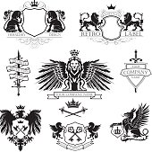 A collection of nine heraldry. In the middle of the composition is seated lion with outstretched wings with crown like a tower and banner under his feet. At the top are two design with shields, crowns