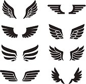 Wings black icons vector set. Modern minimalistic design. Silhouetteю