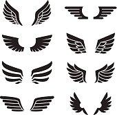 Wings black icons vector set. Modern minimalistic design. Silhouetteю