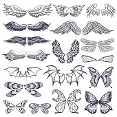 Wings vector flying winged angel with wing-case of bird and butterfly with wingspan illustration black wing-beat tattoo silhouette set isolated on white background.