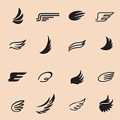 Wings icons vector set. Wings. Set of design elements.