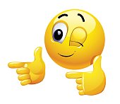 Emoticon thumbs up showing positive mood.