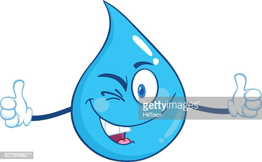 Winking Water Drop Holding Thumb Ups Vector Art