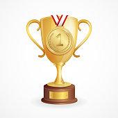 Winner Concept. Golden Cup and Medal. Vector illustration