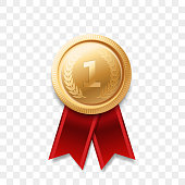 1 winner golden medal award with ribbon vector realistic icon isolated on transparent background. Number one 1st place or best victory champion prize award gold shiny medal badge