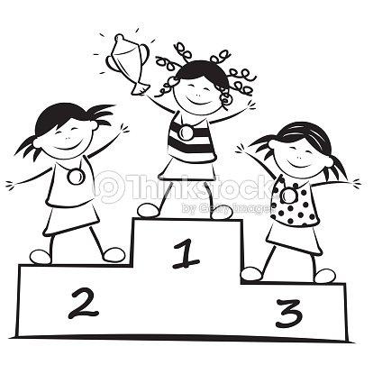 Ganadores en el podio arte vectorial thinkstock - Dessin podium ...