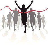 Fully editable vector illustration of a Winning Athlete ahead of a group of marathon runners competing in a street race.