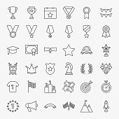 Winning Award Line Icons Set. Vector Thin Outline Competition Symbols.