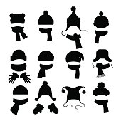 Winter accessories black silhouettes collection isolated on white background. Vector illustration