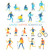 Winter and summer activities cartoon set. Children and adults. Seasonal sport and leisure illustration for your design.