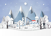 Snow and winter season with nature landscape and countryside for merry christmas and happy new year paper art style.Vector illustration.