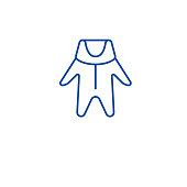 Winter baby clothes line concept icon. Winter baby clothes flat  vector website sign, outline symbol, illustration.