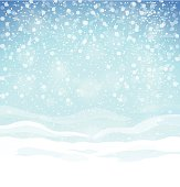 Beautiful winter background with blue skies, snow drifts and snowflakes