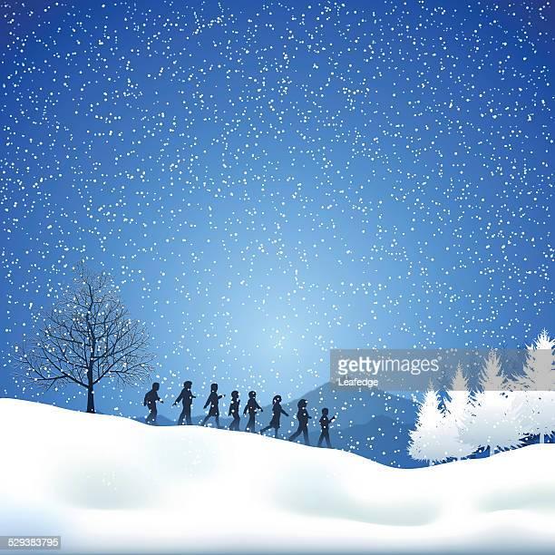 Winter background[Children in the snowfield]