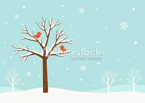 Winter background.Winter tree with cute red birds : arte vetorial