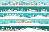 Five winter banners with small houses - cartoon holiday background.