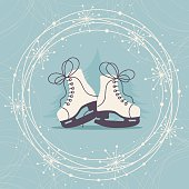 Winter card with ice skates and snowflakes.