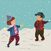 Winter Christmas collection. Children play snowballs in winter.