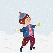 Winter Christmas collection. Girl playing snowballs in winter.